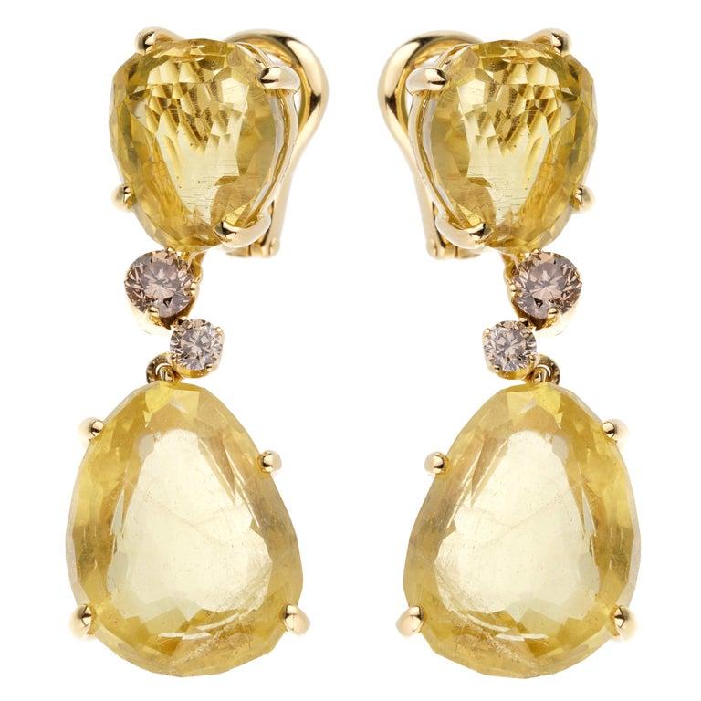 Pomellato 12ct Lemon Quartz Champagne Diamond Drop Earrings For Sale