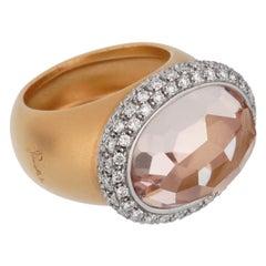 Pomellato 13 Carat Morganite Diamond Rose Cocktail Ring