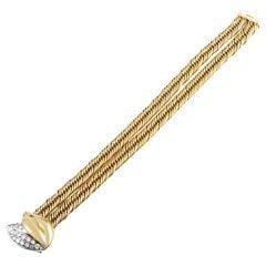 Pomellato ~1.40 Carat Diamond 18 Karat Yellow and White Gold Bracelet
