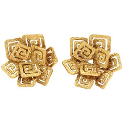Pomellato 18 Karat Gold Greek Key Ear Clips
