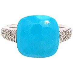 Pomellato 18 Karat White Gold Turquoise and Diamond Capri Ring