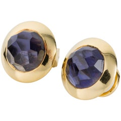 Pomellato 18 Karat Yellow Gold and Faceted Iolite Ear Clips