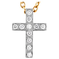 Pomellato 18 Karat Yellow Gold Diamond Cross Pendant Necklace