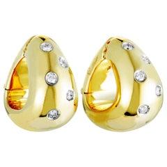 Pomellato 18 Karat Yellow Gold Diamond Triangle Hoop Clip-On Earrings