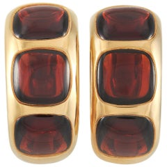 Pomellato 18 Karat Yellow Gold Garnet Clip-On Earrings