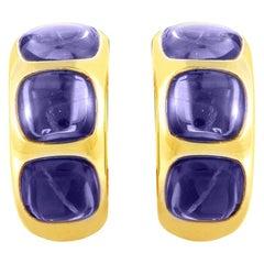 Pomellato 18 Karat Yellow Gold Iolite Hoop Earrings