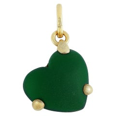 Pomellato 18 Karat Yellow Gold Malachite Heart Pendant