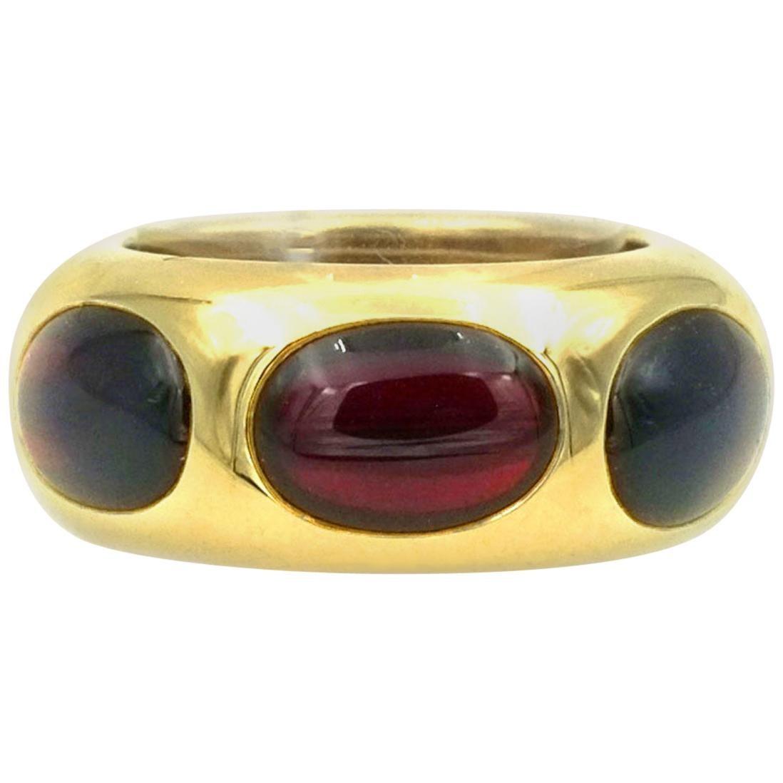 Pomellato 18 Karat Yellow Gold Rubelite Cabochon Ring