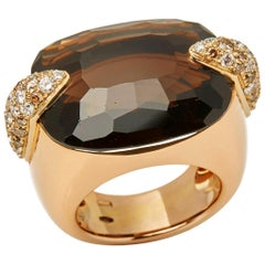 Pomellato 18 Karat Yellow Gold Smoky Quartz and Diamond Cocktail Ring