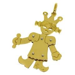 Pomellato 18 Karat Yellow Gold White Gold Queen Large Size Pendant Top Charm