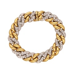 Pomellato 18 Kt. White and Yellow Gold Diamonds Groumette Bracelet