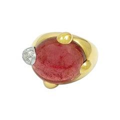 Pomellato 18k Yellow Gold Griffe Pink Tourmaline and Diamond Ring