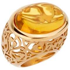 Pomellato 19.94 Carat Amber Rose Gold Cocktail Ring