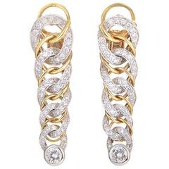 Pomellato, 2.66 Carat Diamond Woven Multi-Color 18 Karat Gold Earrings