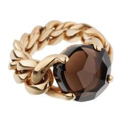 Pomellato 6.65ct Smoky Quartz Chain Link Gold Ring