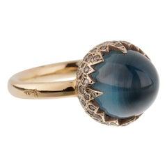 Pomellato 7.95ct Blue Topaz Fancy Diamond Cocktail Ring