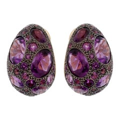 Pomellato 8 Carat Amethyst Rose Gold Earrings