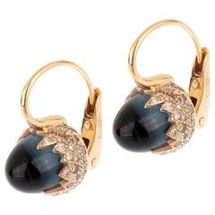 Pomellato 9 Carat Topaz Diamond Rose Gold Earrings