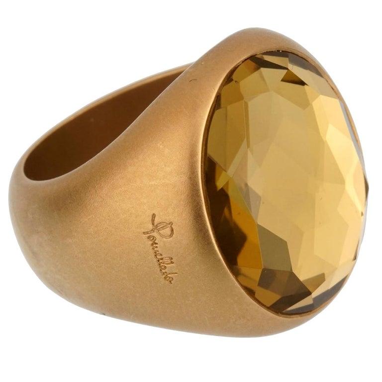 Pomellato 9.5 Carat Green Quartz Yellow Gold Cocktail Ring For Sale