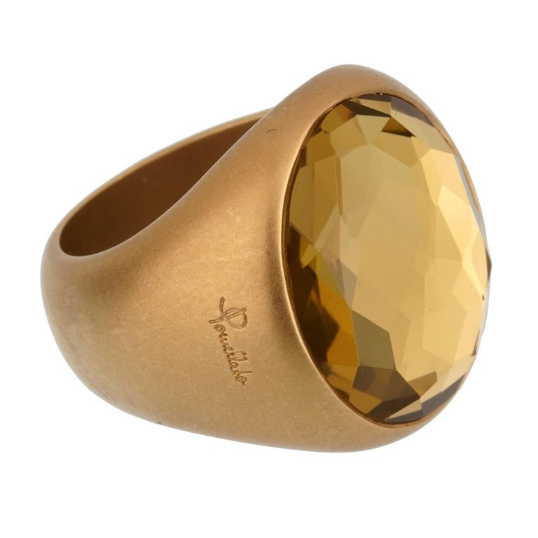 Pomellato 9.5 Carat Green Quartz Yellow Gold Cocktail Ring In New Condition For Sale In Feasterville, PA