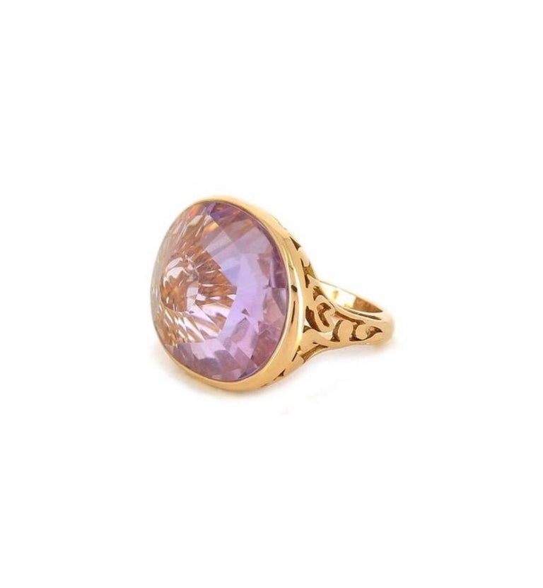 Women's Pomellato Arabesque 18kt Rose Gold and Amethyst Cocktail Ring size 51 For Sale
