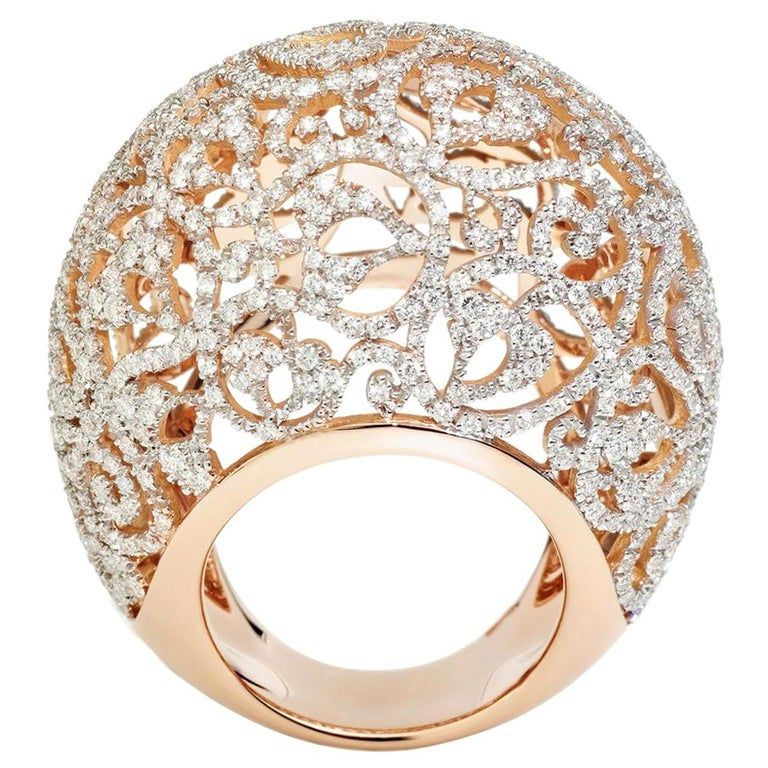 Pomellato Arabesque Collection Ring in 18kt Rose Gold and 3.40 Carat of Diamonds For Sale