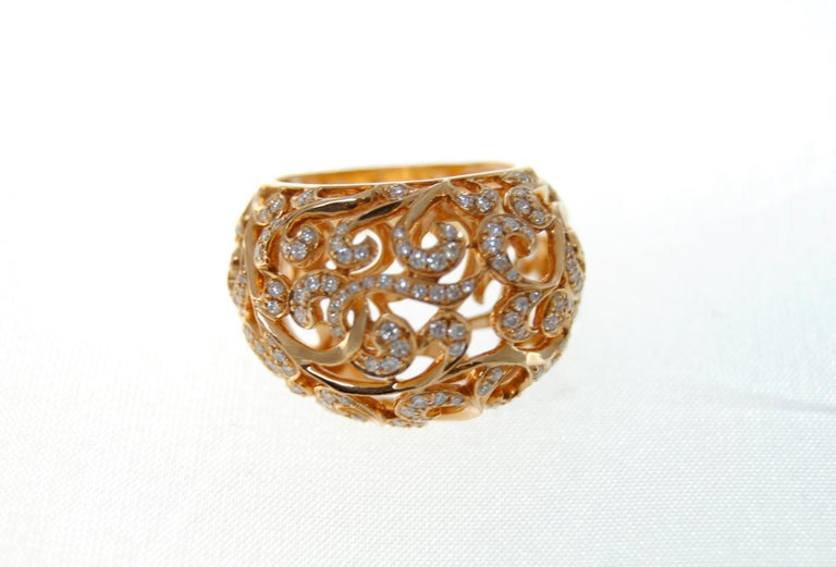 Contemporary Orient  Style  Ring 18 Karat Pink Gold and 0.87 Carat of Diamonds