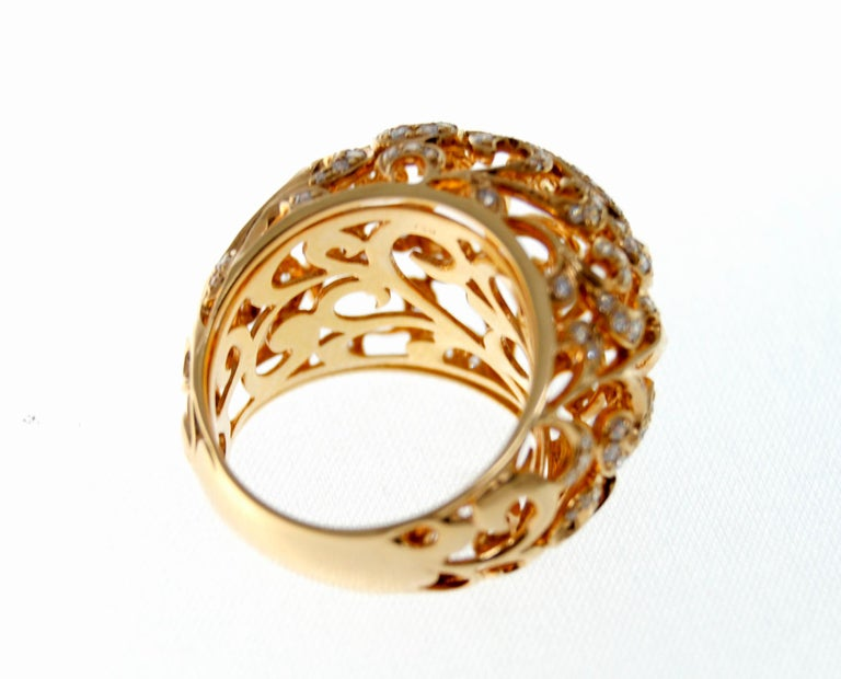 Orient  Style  Ring 18 Karat Pink Gold and 0.87 Carat of Diamonds In New Condition In Bilbao, ES