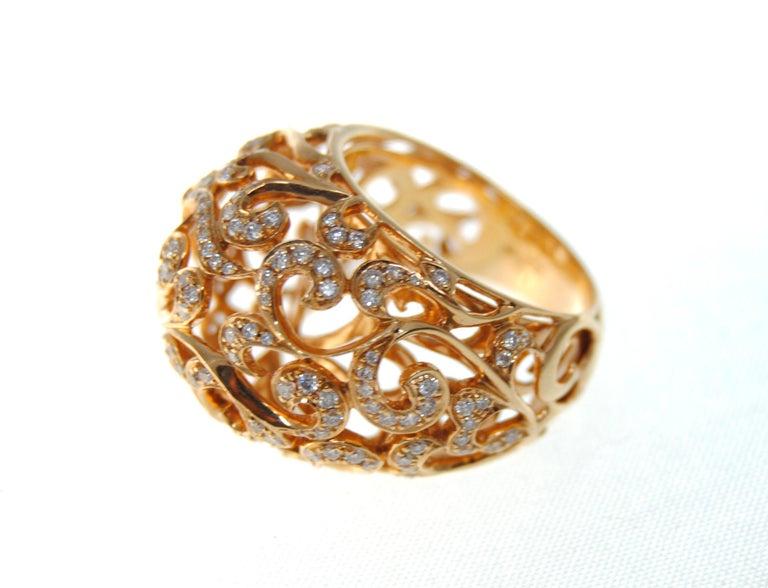 Women's Orient  Style  Ring 18 Karat Pink Gold and 0.87 Carat of Diamonds