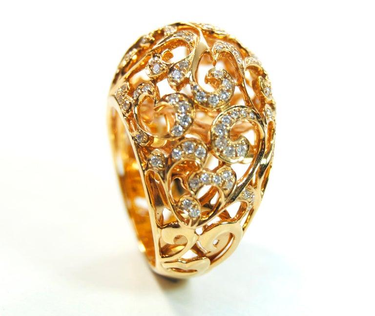 Orient  Style  Ring 18 Karat Pink Gold and 0.87 Carat of Diamonds 1