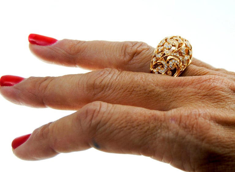 Orient  Style  Ring 18 Karat Pink Gold and 0.87 Carat of Diamonds 2