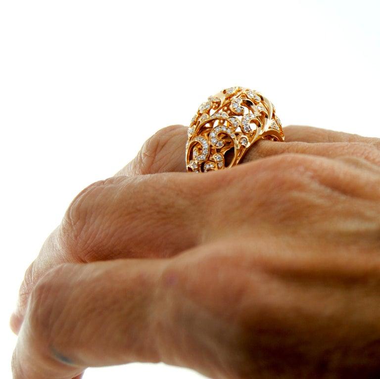 Orient  Style  Ring 18 Karat Pink Gold and 0.87 Carat of Diamonds 3