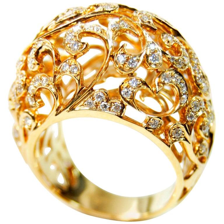 Orient  Style  Ring 18 Karat Pink Gold and 0.87 Carat of Diamonds