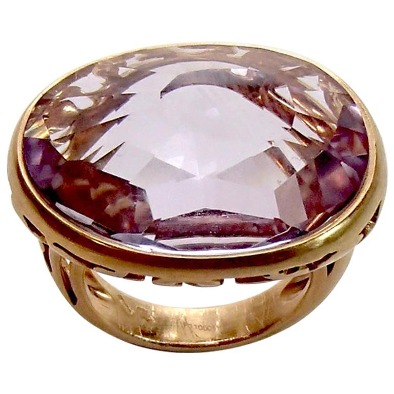 Pomellato Arabesque 18kt Rose Gold and Amethyst Cocktail Ring size 51 For Sale