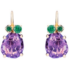 Pomellato Bahia 18 Karat Pink Gold Earrings with Amethyst and Tsavorites