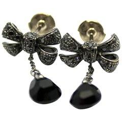 Pomellato Black Diamond Onyx Bow White Gold Drop Earrings