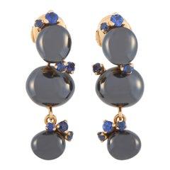 Pomellato Capri 18K Yellow Gold Ceramic and Sapphire Drop Earrings