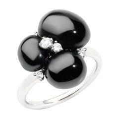 Pomellato Capri Black Ceramic and 18 Karat White Gold Ring