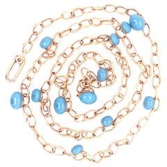 Pomellato Capri Collection Iconic Turquoise Ceramic 18 Karat Rose Gold Necklace