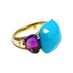 Pomellato Capri Ring in 18 Karat Rose Gold with Turquoise