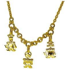Pomellato Charm Necklace 18 Karat Yellow Gold White Gold