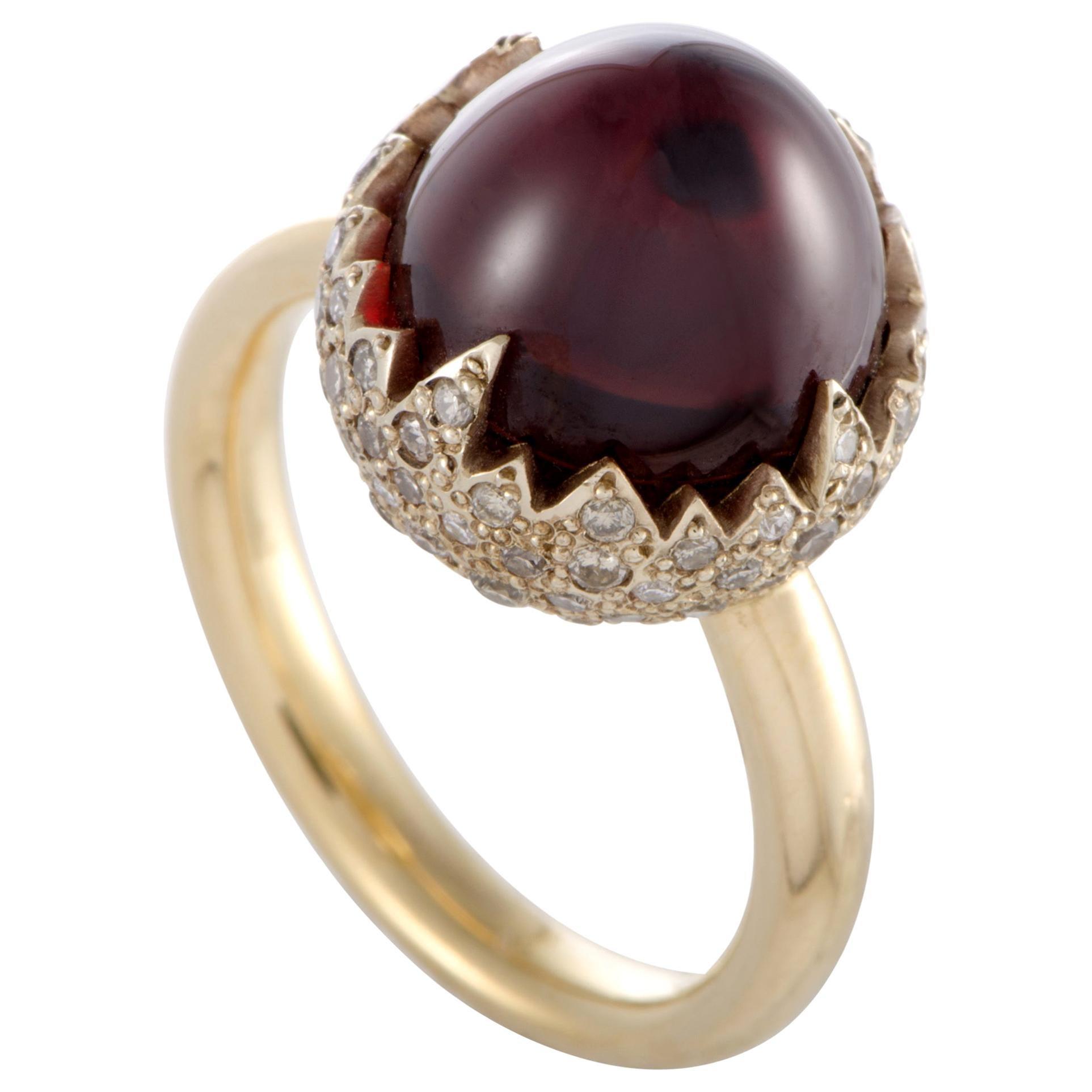 Pomellato Chimera 18 Karat Yellow Gold Diamond and Garnet Cabochon Ring