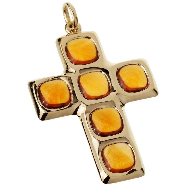 Pomellato Citrine 27 Carat Citrine Cross Yellow Gold Pendant For Sale