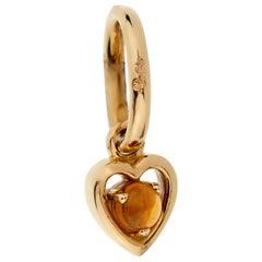 Pomellato Citrine Yellow Gold Heart Charm Pendant