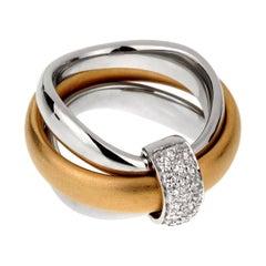 Pomellato Cocktail Rolling Diamond Gold Ring