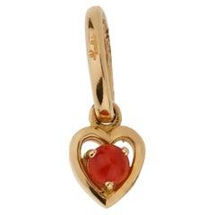 Pomellato Coral Yellow Gold Heart Charm Pendant