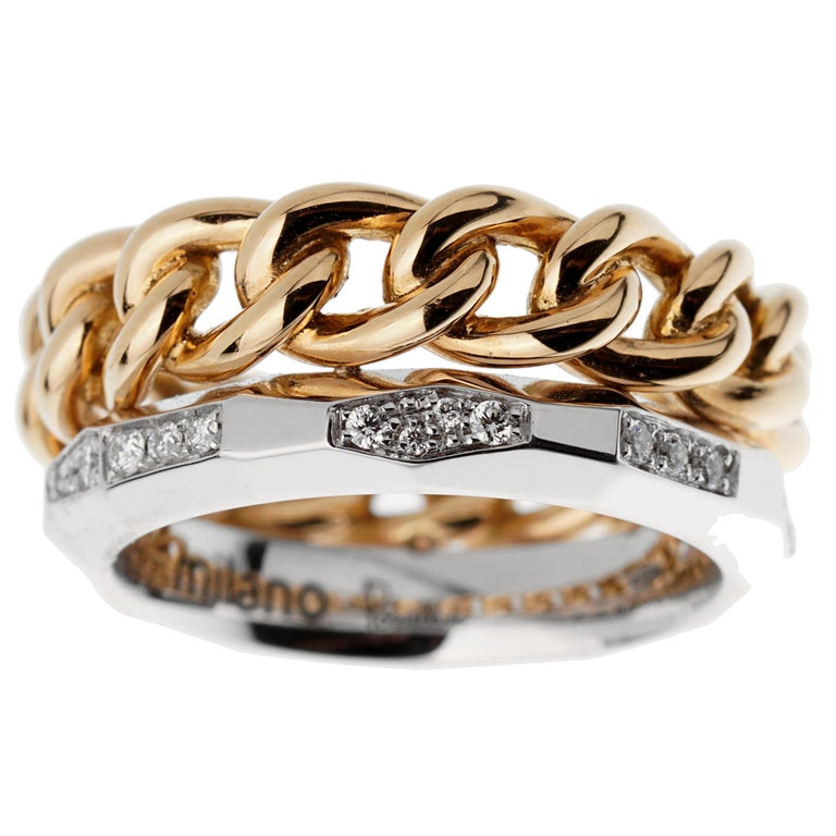 Round Cut Pomellato Cuban Link Diamond Faceted Stacking Band Ring For Sale