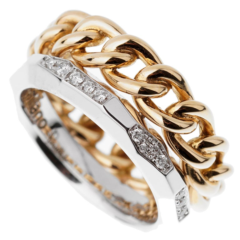 Pomellato Cuban Link Diamond Faceted Stacking Band Ring In New Condition For Sale In Feasterville, PA