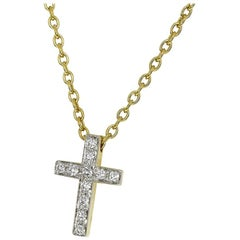 Pomellato Diamond 18 Karat Yellow Gold White Gold Cross Pendant Necklace