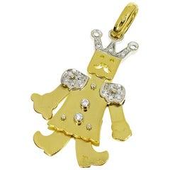 Pomellato Diamond 18 Karat Yellow Gold White Gold King Medium Pendant